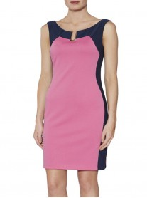 9027 Two-Tone Dress - Pink & Navy (Gina Bacconi)