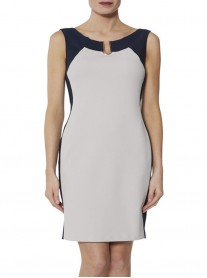 9027 Two-Tone Dress - Silver & Navy (Gina Bacconi)