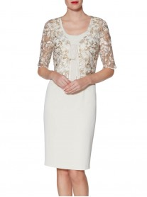 9057 Shift Dress & Jacket - Beige (Gina Bacconi)