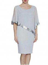 9100 Chiffon Sequinned Wrap - Grey (Gina Bacconi)