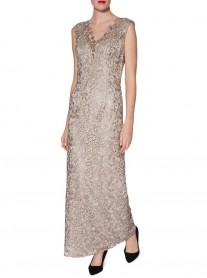 9160 Long Lace Dress & Scarf - Beige (Gina Bacconi)