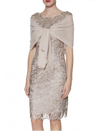 9161 Dress & Scarf - Beige (Gina Bacconi)