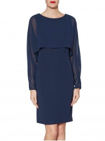 9173 Dress & Cape - Blue / Silver (Gina Bacconi)