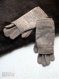 Diamante Woolen Gloves - Brown