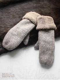 Sparkly Woolen Mittens - Brown