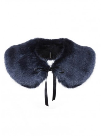 Faux Fur Peter Pan Collar - Midnight
