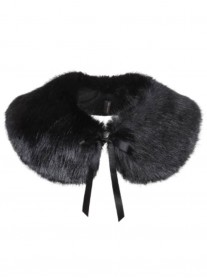 Faux Fur Peter Pan Collar - Jet