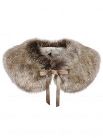 Faux Fur Peter Pan Collar - Truffle