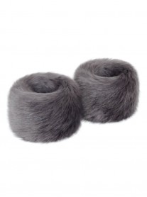 Faux Fur Wrist Warmers - Steel