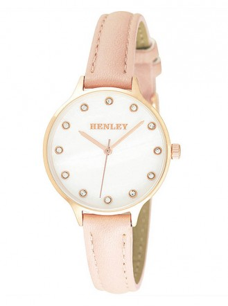 Ivory/Gold Watch - Pink Leather Strap