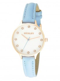 Ivory/Gold Watch - Blue Leather Strap