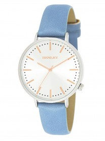Silver Watch - Blue Leather Strap