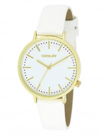 Gold Watch - White Leather Strap