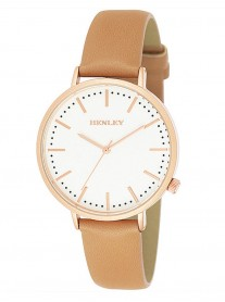 Rose Gold Watch - Copper Leather Strap
