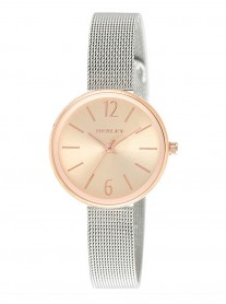 Rose Gold Watch - Silver Weave Strap