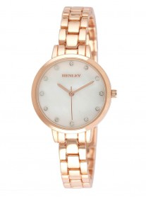 Rose Gold Diamante Watch - Slim Link Strap