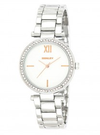 Silver Diamante Watch - Wide Link Strap