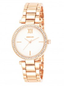 Rose Gold Diamante Watch - Wide Link Strap