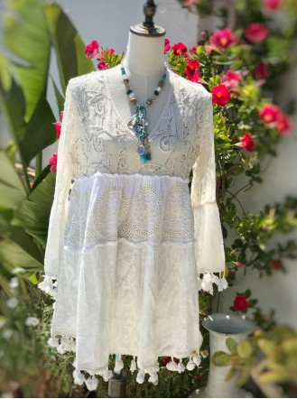 Long Sleeved Beaded Tunic (White)