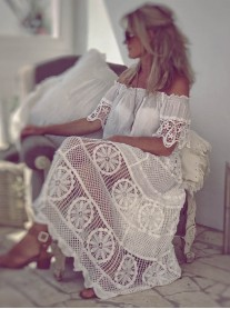 Long Crochet Skirt (Elastic Waist) - White