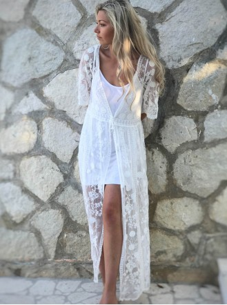 Long White Lace Overcoat
