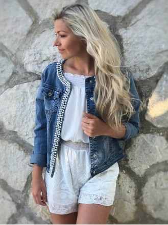 Pearl Embellished Denim Jacket