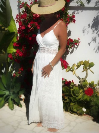 White Waisted Beach Dress