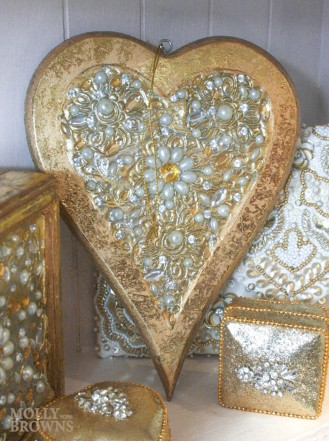 Gold Pearl Embellished Heart