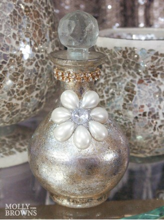 Metallic Pearl & Crystal Embellished Bottle