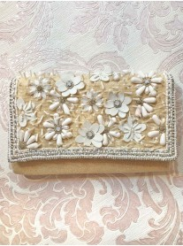 3D Daisy Embellished Clutch Bag