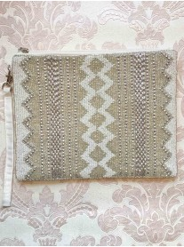 Silver Aztec Embellished Clutch Bag