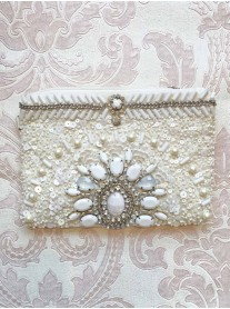 White Embellished Clutch Bag