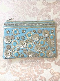 Aqua Gold 3D Embellished Large Clutch Bag