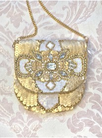Gold Embellished Medium Clutch Bag