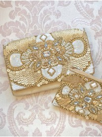 Gold Embellished Medium Clutch