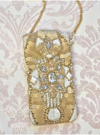 Gold Embellished Phone/Glasses Case