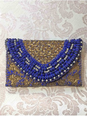 Royal Blue & Gold Embellished Clutch Bag