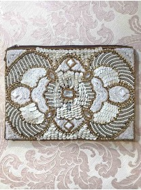 Bronze & White Embellished Clutch Bag