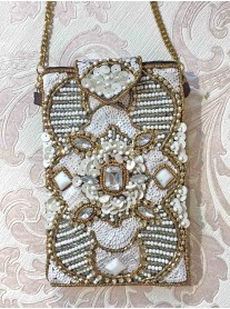 Bronze & White Embellished Phone/Glasses Case