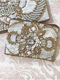 Bronze & White Embellished Purse