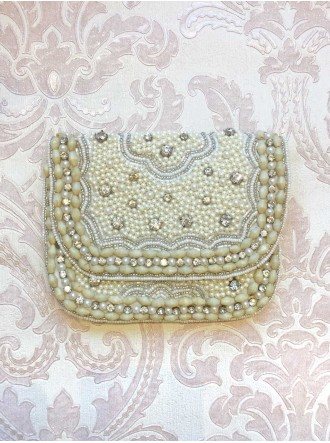 Pearl Embellished Medium Clutch Bag