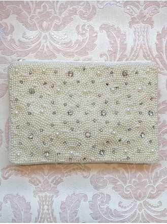 Pearl and Diamante Large Clutch Bag