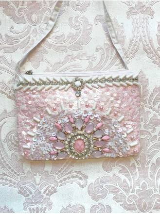 Pink Beaded Embellished Clutch Bag