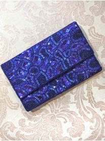 Royal Blue Embellished Clutch Bag