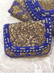 Royal Blue & Gold Embellished Bag