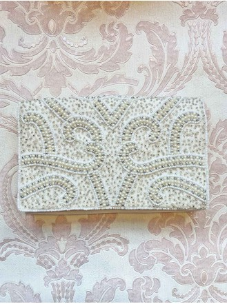 Pearl Beaded Fold Over Clutch Bag