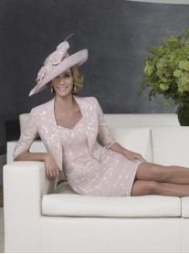 25861B With Matching Jacket - Dusty Pink / Silver (John Charles)