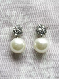 Diamante Cluster & Pearl Earrings