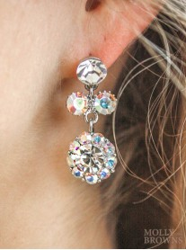 Large Daisy AB Crystal Medium Drop Earrings