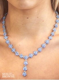 Small Daisy Light Sapphire Crystal Y Drop Necklace